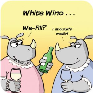 White Wine Funny Table Coaster